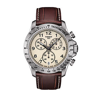 tissot v8 quartz chronograph 4.2mm men's watch, brown leather