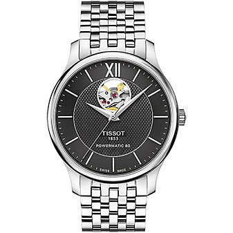 tissot tradition powermatic 80 open heart 40mm men's watch, stainless steel