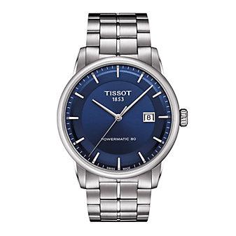tissot luxury powermatic 80 41mm men's watch, stainless steel & blue dial