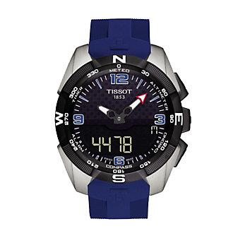 tissot t-touch experrt solar ice hockey men's 45mm watch, blue strap