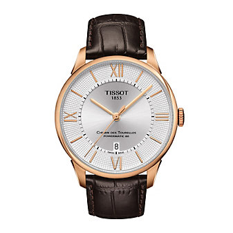 tissot chemin des tourelles powermatic 80 42mm men's watch, rose gold