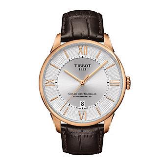 tissot chemin des tourelles powermatic 80 42mm men's watch, rose gold