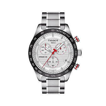 tissot prs 516 chronograph 42mm men's watch, stainless steel & white dial