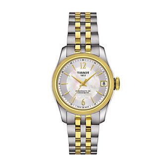 tissot ballade powermatic 80 cosc lady women's watch, two tone gold plated