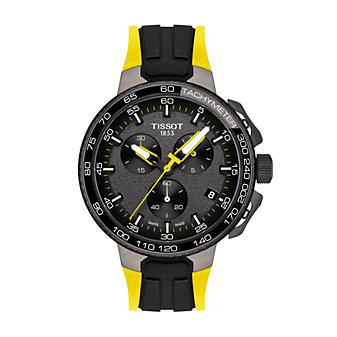 tissot t-race cycling tour de france men's watch, yellow & black