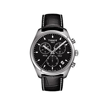 tissot stainless steel & black pr 100 chronograph watch
