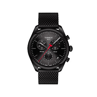 tissot black steel pr 100 chronograph watch