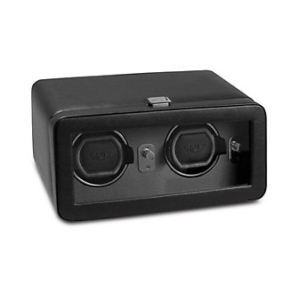 Wolf Black Windsor Double Watch Winder with Cover