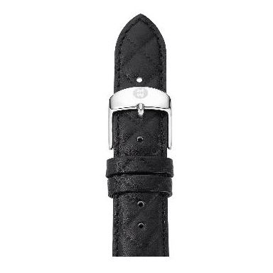michele 16mm quilted black leather strap