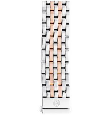 Michele 18mm Deco 7-Link Rose Gold Two-Tone Bracelet