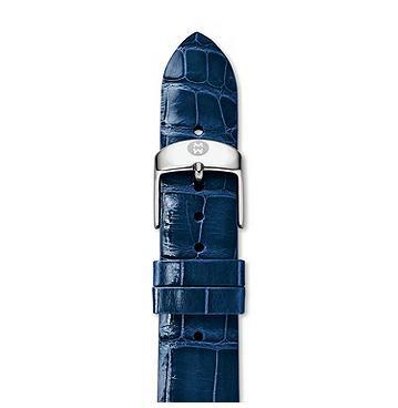 Michele 18mm Blue Thin Alligator Strap