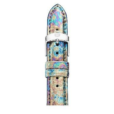 michele 16mm moonstone metallic leather strap