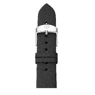michele 16mm black leather strap