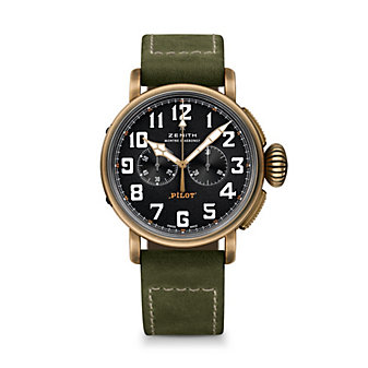zenith pilot chronograph 45mm watch with bronze case and green leather strap