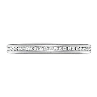Precision Set 18K White Gold Channel Set Diamond Anniversary Band, 0.10cttw
