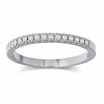 Precision Set 18K White Diamond Band, 0.15cttw