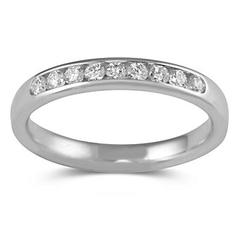 14K White Gold Round Diamond Channel Set Band, 0.25 cttw