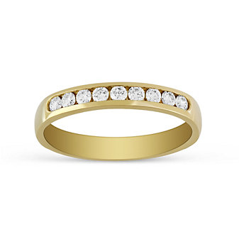 14K Yellow Gold 9 Diamond Channel Set Band, 0.25cttw
