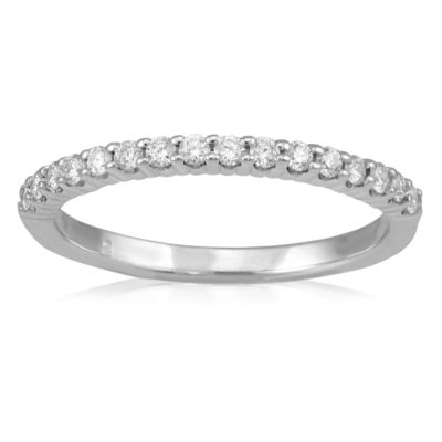 14K White Gold Round Prong Set Diamond Stackable Band, 0.25 cttw