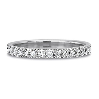 Precision Set 18K White Gold New Aire Shared Prong Diamond Wedding Band