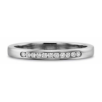 Precision Set 18K White Gold Diamond Channel Set Band, 0.10cttw