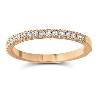 Precision Set 18K Rose Gold Diamond Band, 0.15cttw