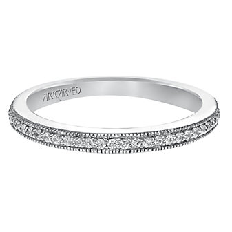 ArtCarved 14K White Gold Lanice Diamond Band, 0.14cttw