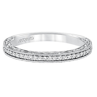 ArtCarved 14K White Gold Althea Diamond Band, 0.11cttw