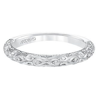 ArtCarved 14K White Gold Alexandra Diamond Band, 0.05cttw