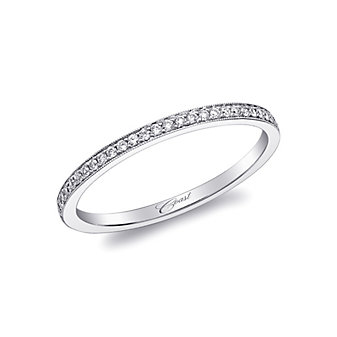 14K White Gold Prong Set Milgrain Diamond Band, 0.08cttw