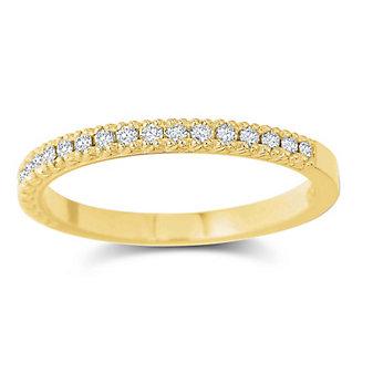 Precision Set 18K Yellow Gold Diamond Band, 0.15cttw