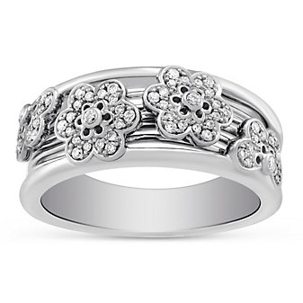Peter Storm 18K White Gold Diamond Flower Band