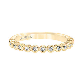 ArtCarved 14K Yellow Gold and Round Diamonds Bezel Set Anniversary Band