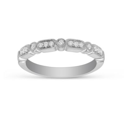 18K White Gold Diamond Anniversary Band With Milgrain Edge