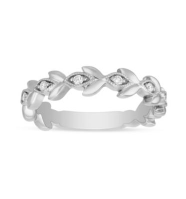 ArtCarved 14K White Gold Diamond Leaf Patterned Anniversary Band