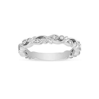 ArtCarved 14K White Gold Diamond Filigree Pattern Wedding Band