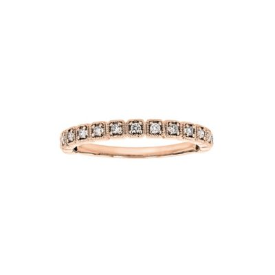 14k rose gold diamond cushion milgrain anniversary band, 0.14cttw