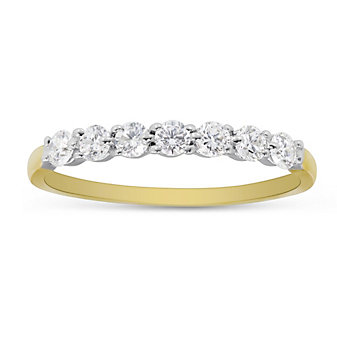 18K Yellow Gold Prong Set Diamond Band, 0.35cttw