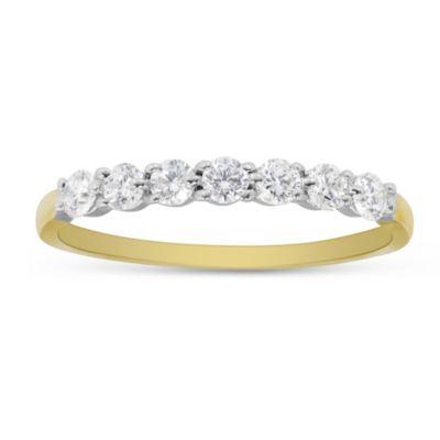 18K Yellow Gold Prong Set Diamond Band, 0.35cttw