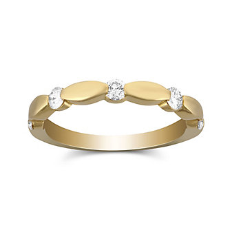 18K Yellow Gold Scalloped Diamond Band