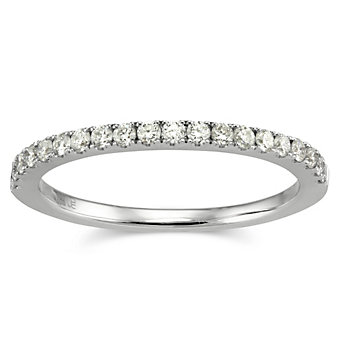 18K White Gold Round Prong Set Diamond Band, 0.34 cttw