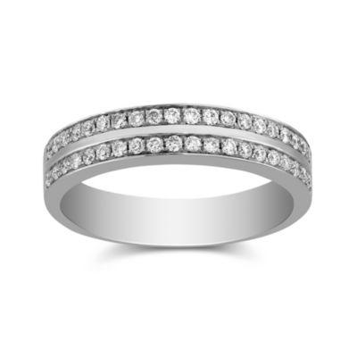 18K White Gold Round Channel Set Diamond Band, 0.35 cttw