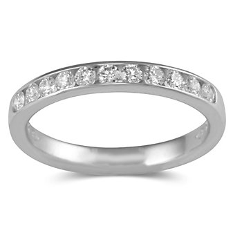 14K White Gold Round Channel Set Diamond Band, 0.33 cttw