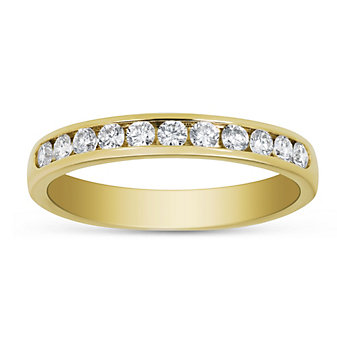 14K Yellow Gold Round Diamond Channel Set Band, 0.33 cttw