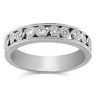 14K White Gold Round Diamond Band, 0.35 cttw