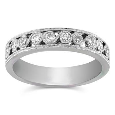 14K White Gold Round Diamond Band, 0.35 cttw