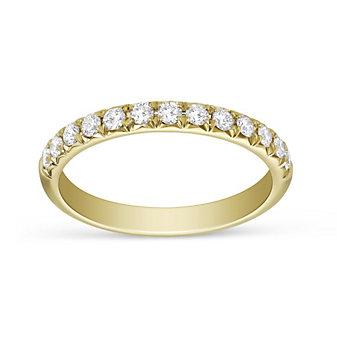 Precision Set 18K Yellow Gold Diamond Shared Prong Anniversary Band