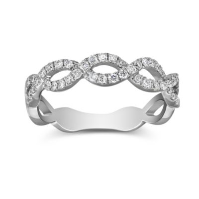 18K White Gold Eternity Patterned Diamond Band, 0.34cttw