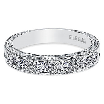 Kirk Kara 18K White Gold Dahlia Criss Cross Diamond Anniversary Band, 0.30cttw