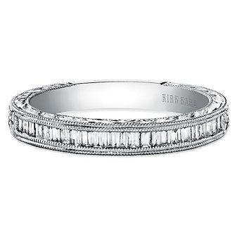 Kirk Kara 18K Stella Engraved Baguette Diamond Anniversary Band, 0.32cttw